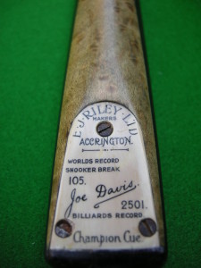 E. J. RILEY 105 BREAK CUE HAND SPLICED ASH EBONY BIRDS EYE MAPLE FRONT SPLICE WITH TOMBSTONE PLATE